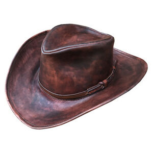Image is loading HANDMADE-Western-hat-Genuine-leather-Cowboy-hat-Fedora- 4c41f545376