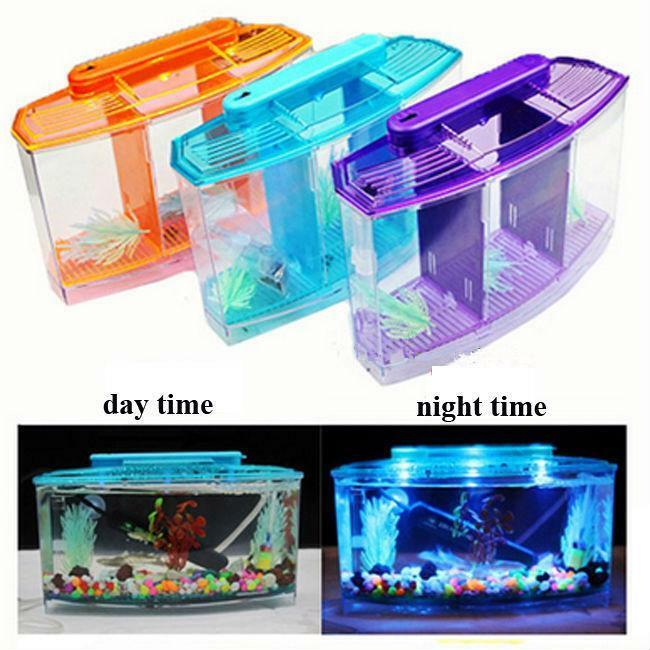 Aquarium Betta Three Splits Fishbowl Hatchery Breeding Box Fish Tank Led Light