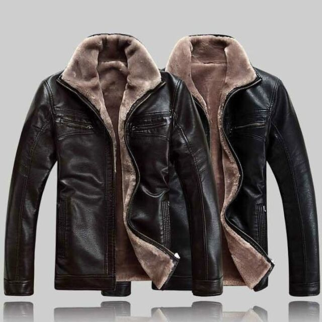 Vogue Men winter jacket leather coat fur parka Fleece Jacket trench Fashion
