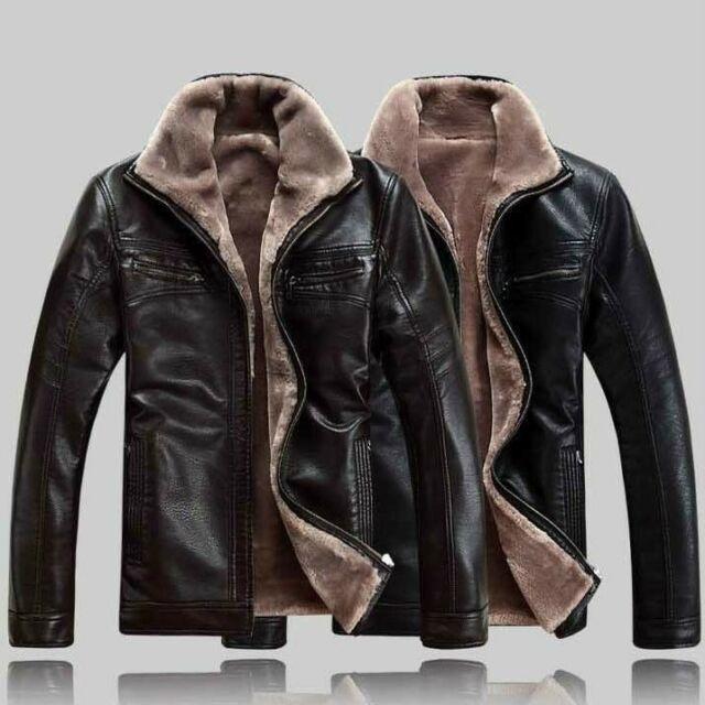 Hot Mens winter jacket leather coat real fur parka Fleece Jacket trench coat SZ
