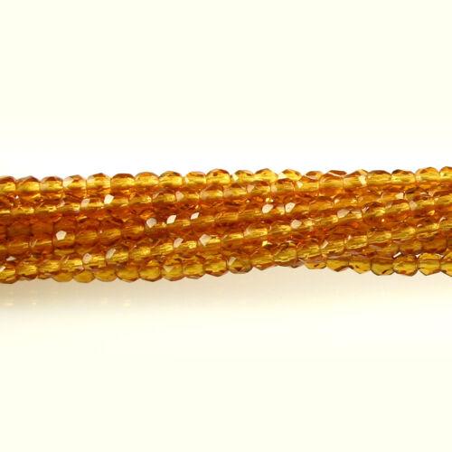 50 3mm Faceted Round Fire Polish Czech Glass Beads Topaz Yellow