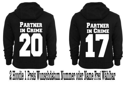 Partner in Crime Hoodie Pullover 2 Stück Partner Look Viele Farben XS 5XL New