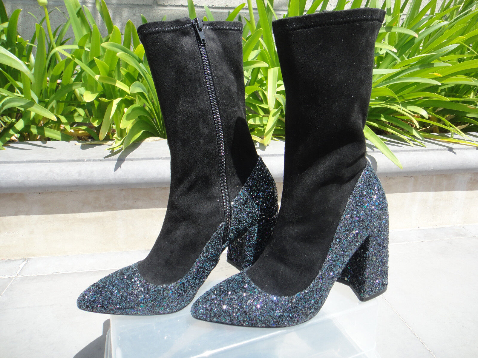 Shellys London ELY Glitter Sock Boot, Black and bluee, Women's Sz EUR38 US7.5M