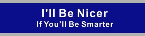 """2/"""" x 8/"""" Engraved Office Name plate I/'ll Be Nicer If You'll Be Smarter."""
