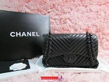 "RARE 2015 CHANEL 2.55 ""SO BLACK"" Chevron Lambskin Double Flap Jumbo Bag 2"