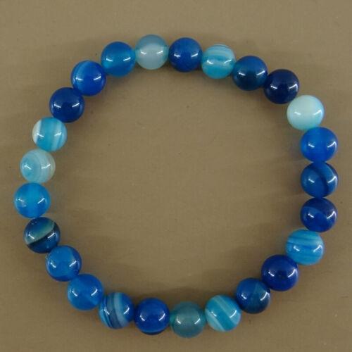 Bracelet en perles agate bleue 2 tailles au choix 18 et 20 cm,lithothérapie