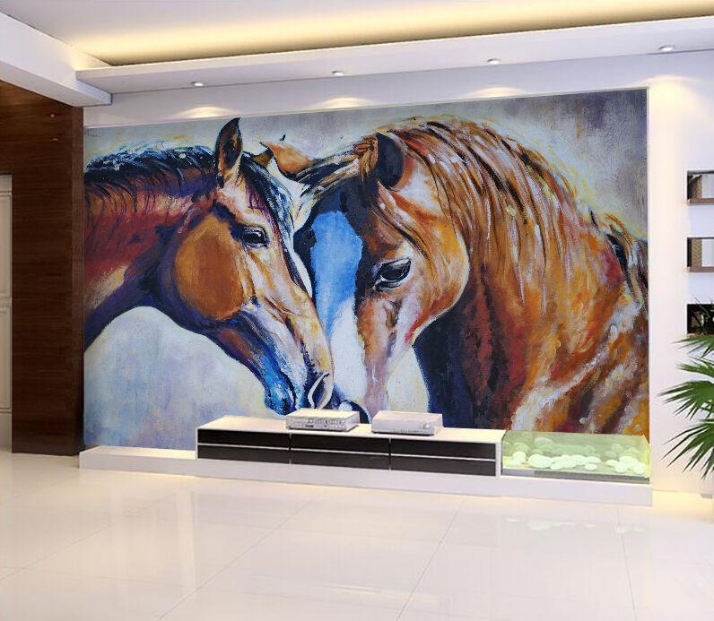 3D Two Horses 845 Wallpaper Mural Paper Wall Print Wallpaper Murals UK
