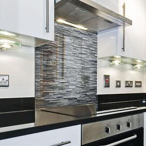 Dettagli su Splashback Paraschizzi Paraspruzzi Rivestimento Cucina pietra  pattern grigio