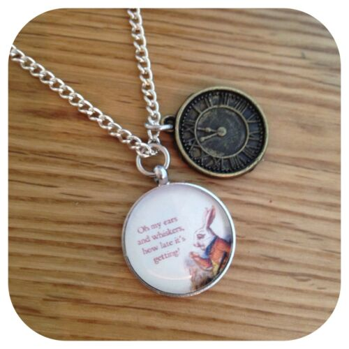 Alice in Wonderland The White Rabbit I/'m Late Necklace