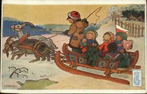 Czech-New-Year-Mudrunka-Children-Sled-Pulled-by-Goats-c1910-Postcard