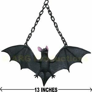 HALLOWEEN BAT WITH CHAIN DECOR SCARY BLACK PARTY DECORATION HAUNTED HOUSE PROP