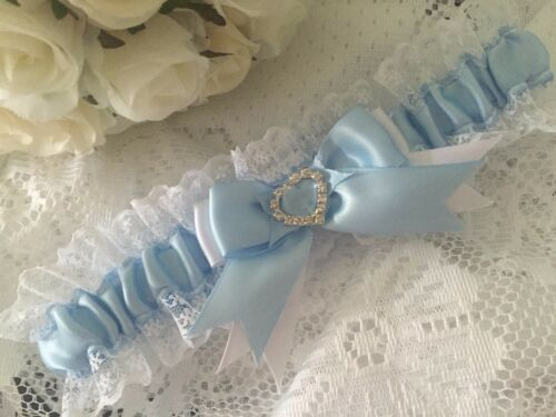 WEDDING GARTER SATIN AND LACE crystals something blue bride bridal shower gifts