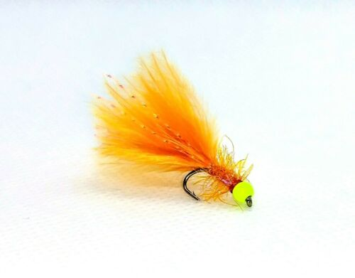 3 x Ginger Damsel Fly UV dispersion flash fluorescent jaune Hot Head Taille 12