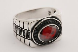 Turkish-Jewelry-Oval-Ruby-Black-Zircon-925-Sterling-Silver-Men-039-s-Ring-Size-10