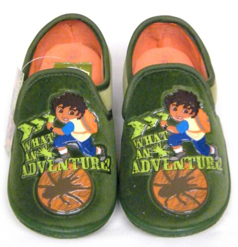 Infants Kids Boys Girls Green Diego Adventure Novelty Cosy Lined Slippers Mules