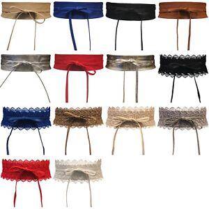 Women-039-s-Obi-Belt-Wide-Lace-Waist-Band-Faux-Leather-Cinch-Tie-up-One-Size-Boho