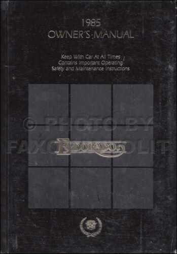 1985 Cadillac Eldorado Owners Manual Original Owner Guide Book ...