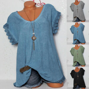 Womens-Lace-Crochet-Floral-Bell-Sleeve-Loose-Blouse-Tunic-Tops-Shirt-Plus-Size