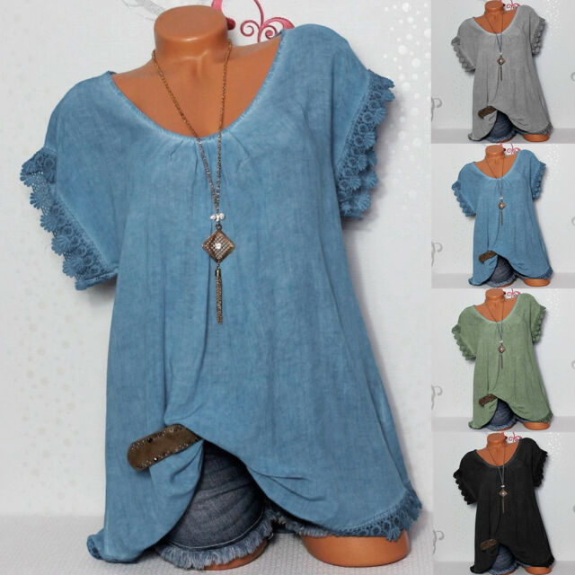 Womens Lace Crochet Floral Sleeve Tops Ladies Summer Baggy Blouse T Shirt M-4XL