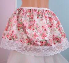 "Super cute mini floral red lace trimmed half slip mini sissy skirt sz 28-46"" OS"