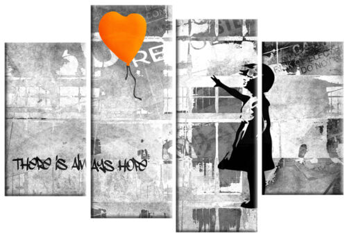"BANKSY ORANGE GREY CANVAS GIRL WITH BALLOON WALL ART 4 PANEL PICTURE 40/""x 27/"""