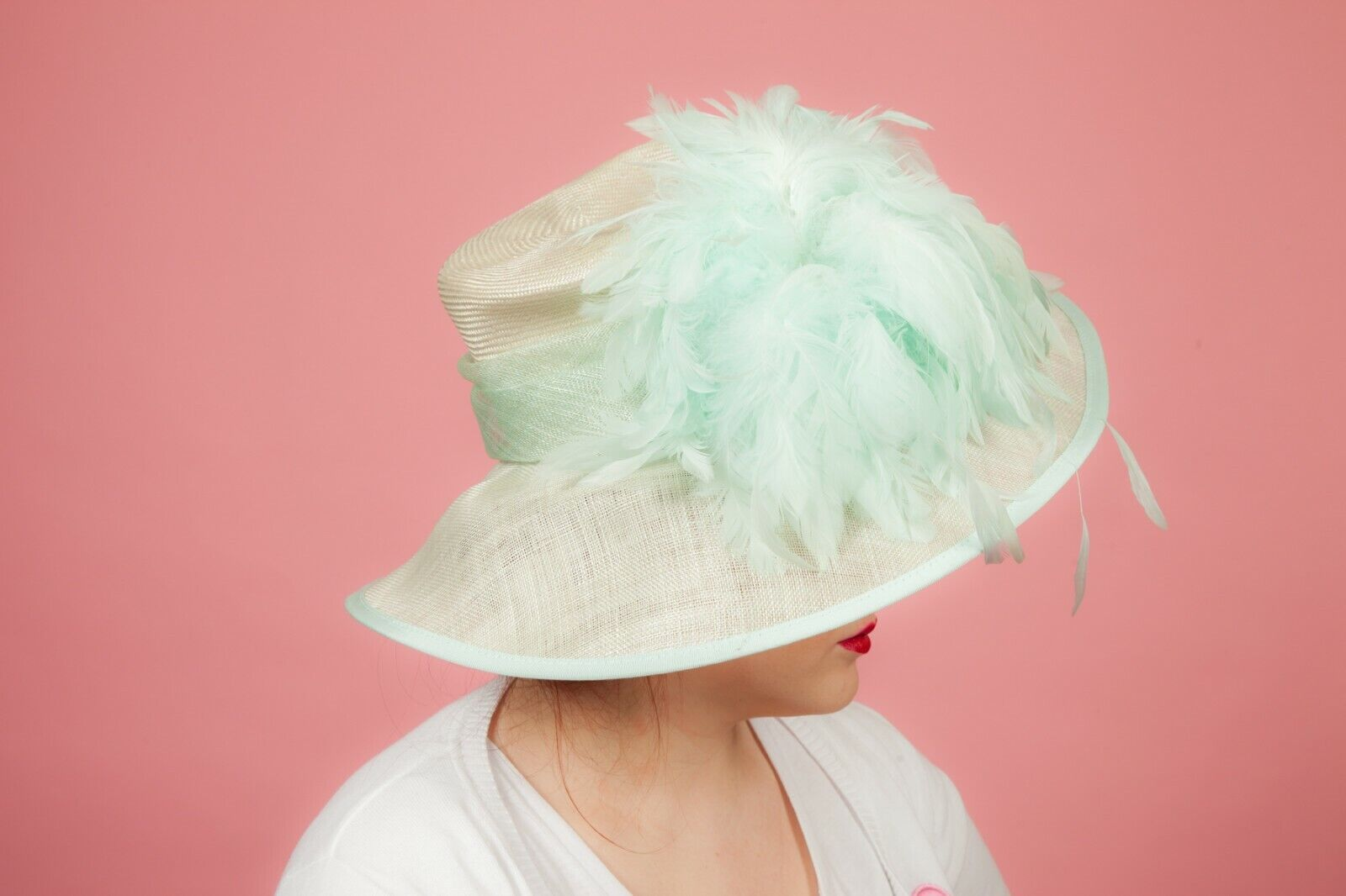Oversized mint green feathered formal hat Wedding Races Ascot