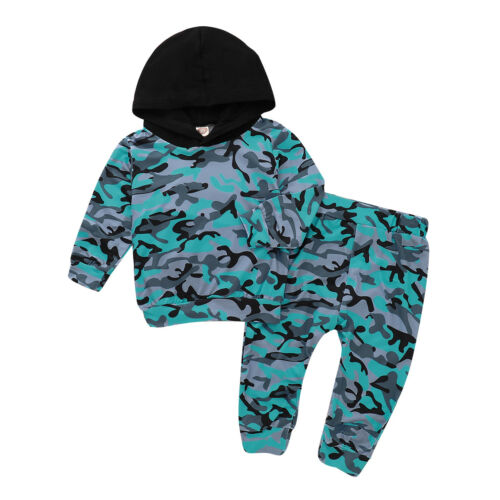 UK Boys Camo Combat Hooded Hoodies Outfits Set Kids Pants Tops Clothes 1-5 Years