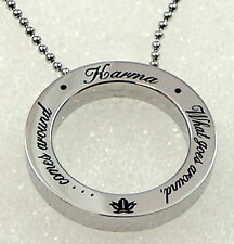 """Karma Necklace Infinity Circle Pendant 24"""" Stainless Steel Silver Inspirational"""