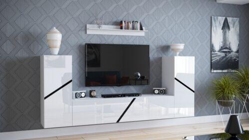 Moderne Wohnwand Mediawand Anbauwand IDA13 4Hängemodule 230 cm Hochglanz Farben