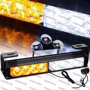 9.5 inch LED White Amber Bar Truck Strobe Flash Light Warn Truck Traffic Advisor