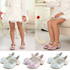 Girl Sequin Bowknot Princess Dress Shoes Kids Glitter Wedding Party Dance Shoes