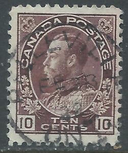 Canada #116(2) 1912 10 cent plum KING GEORGE V PELLEVILLE ONTARIO CV$6.00