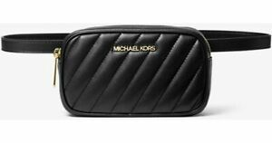 Michael Kors Belt Bag Black Convertible Rose Quilted Faux Leather
