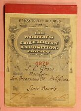 1893 WORLDS COLUMBIAN EXPO EXHIBITOR ADMISSION TICKET BOOKLET