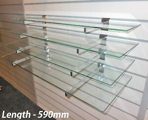 4 toughened glass shelves with or without slatwall brackets wall rh ebay co uk Glass and Wood Shelving Units Glass Slatwall Brackets Shelveing