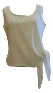 Emanuel-Ungaro-silk-sleeveless-top-ties-on-the-side-Ivory-versatile-Sz-6-40-365