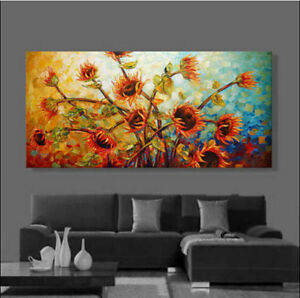 CHOP158-hand-painted-modern-abstract-sunflower-oil-painting-home-art-on-canvas