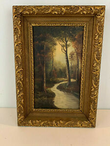 Antique Oil on Canvas Forest Landscape Painting w/ Trees & Stream of Water
