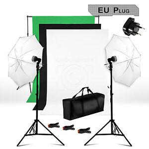 bps kit d 39 clairage photo studio toile tissu de fond support parapluie ampoule ebay. Black Bedroom Furniture Sets. Home Design Ideas