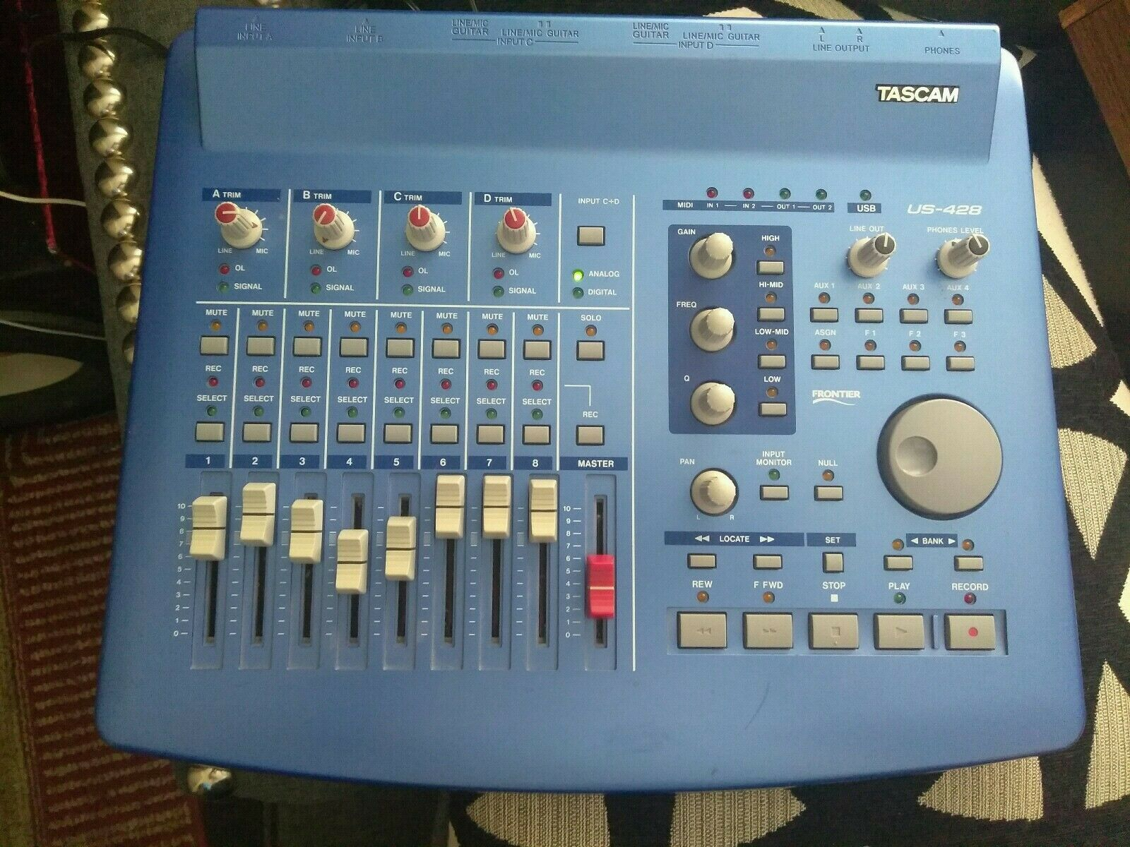 Tascam US-428 USB Interface Controller Digital Audio Workstation Tested Working