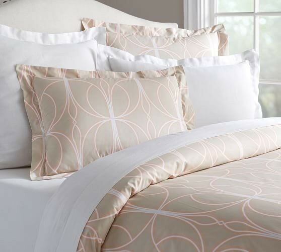 Pottery Barn Aubrey 100%  Organic Cotton Duvet Queen  Pair Shams Sold Out