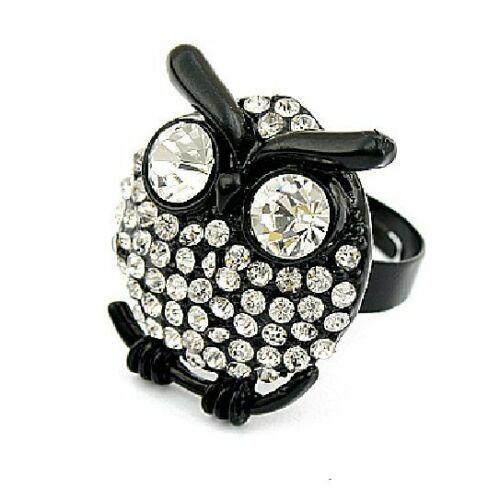 Eule Ring Eulenring Eulen-Ring schwarz Strass Kauz Uhu Owl Gufo Hibou Vintage 6