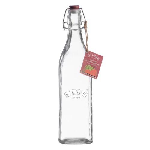 4 X Kilner Pince Haut Verre 1 L Stockage Bouteilles pour les huiles jus Sloe Gin NEUF