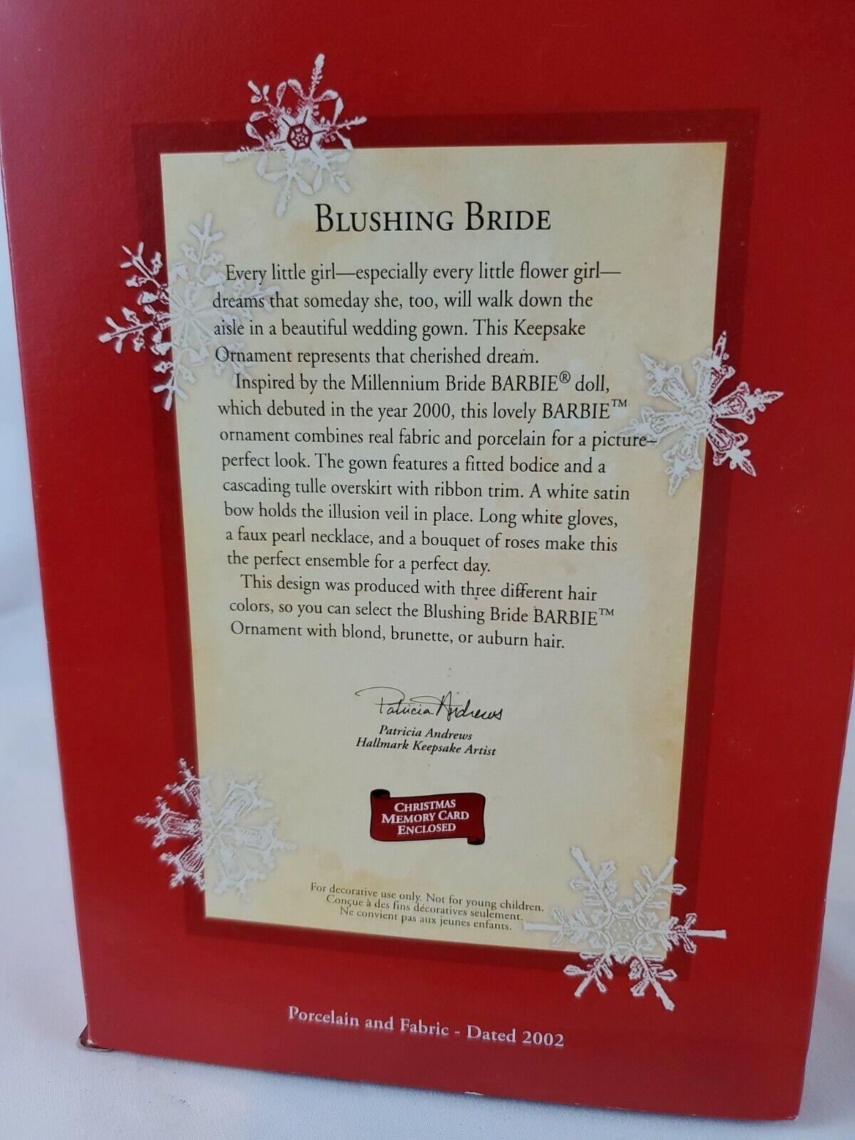BRUNETTE  IN ORG BOX BLUSHING BRIDE  2002 BARBIE HALLMARK ORNAMENTS