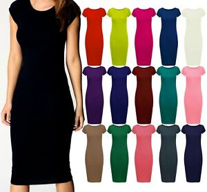 Womens-Ladies-Cap-Sleeve-Midi-Dress-Bodycon-Summer-Maxi-Midi-Dress-Plus-Size