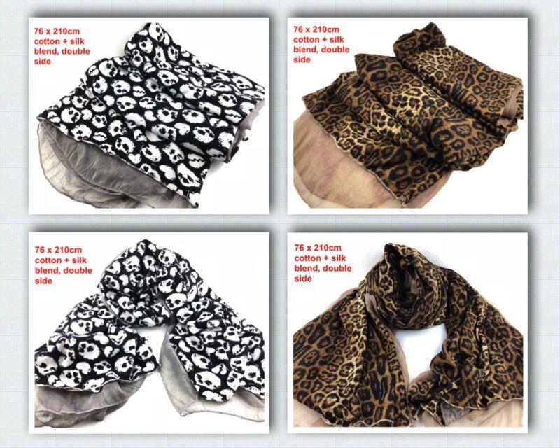 Begeistert Ladies Women Fashion Beautiful Skull/leopard Long Size Cotton Silk Scarf Shawl