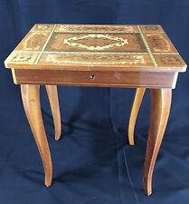 "Swiss Musical Jewelry Box Table - Beautiful Inlaid Wood 17"" tall~~  OLD"
