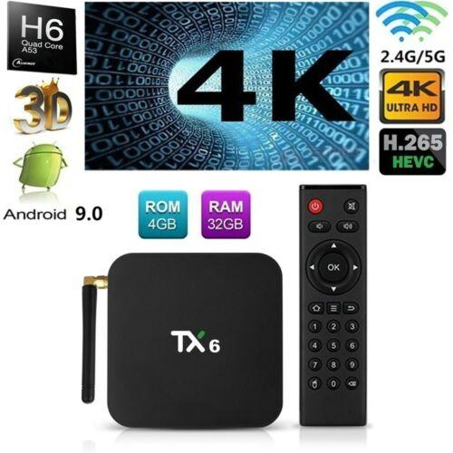 TX6 Android 9.0 Smart TV Box 4GB 32GB QuadCore 4K HD 1080P WiFi 3D Media BT T6V2
