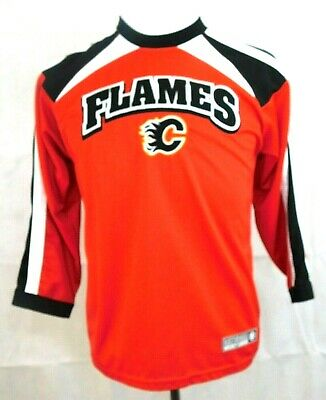 Nhl Mighty Mac Sports Calgary Flames Red Black Long Sleeve Jersey Size M 10 12 Ebay