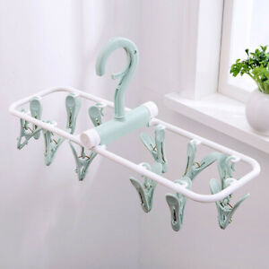 Gloves Small Clip and Drip Hanger 2-Pack Baby Clothes Hanger for Drying Towels Plastic Laundry Sock Drying Hanger Bras Blue Socks Hanger Underwear Hanger with 12 Clips /& 360/° Rotatable Hook